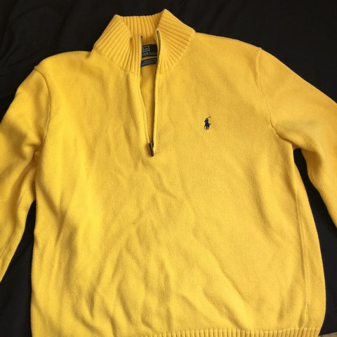 04439f7d0 Polo Ralph Lauren Quarter Zip Sweater. 10 10 yellow with - Depop
