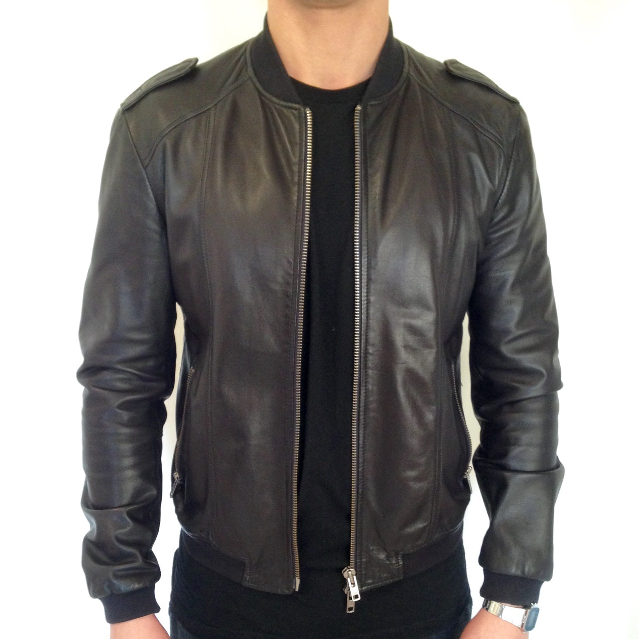 official photos 7ad60 a8069 Giubbotto Bomber pelle Mauro Grifoni nero Tg 50... - Depop