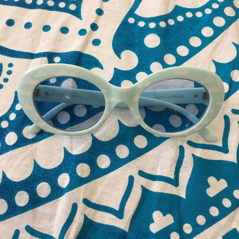 13962c311d ☁ the love tempo ☁ crap eyewear ☁ blue with white clouds - Depop