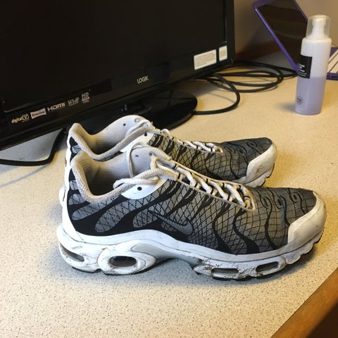 ee3bbabfeb @cagneybuirch. last year. Nottingham, United Kingdom. Fire rare unisex Nike  Air Max Plus Tn Jacquard Tuned 1 White Black Grey Mens ...