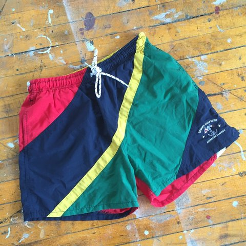 bed0ae9f7c @rawdeals. 3 years ago. Michigan, USA. Vintage 90's Tommy Hilfiger sailing swim  trunks size medium in excellent ...