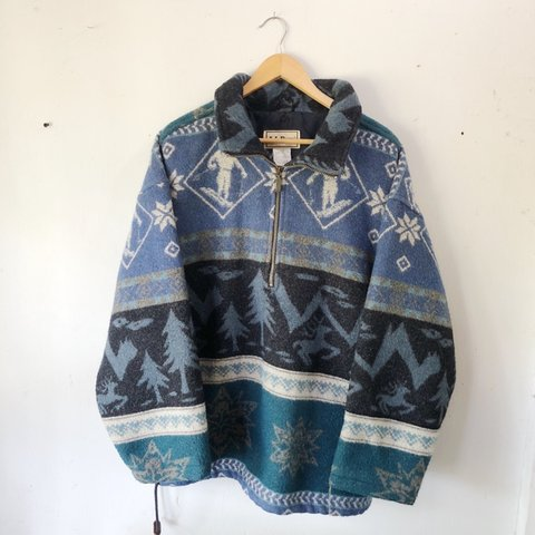 ef8cb0aa6d2d9a Killer vintage 90's LL Bean pullover wool 1/4 zip, men's in - Depop