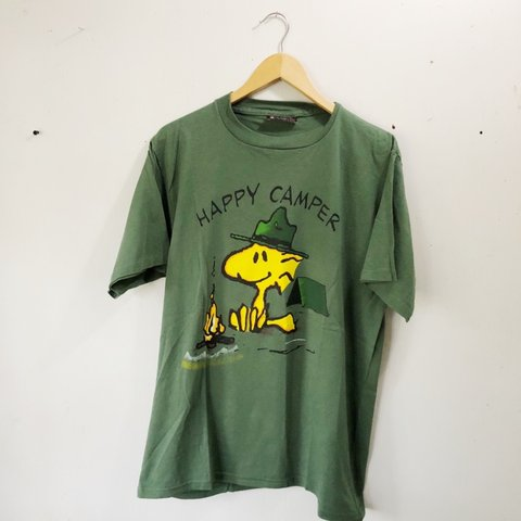 43210b47 @rawdeals. 8 months ago. Lansing, United States. Vintage 90's Peanuts  Woodstock happy camper shirt, single stitched sleeves in a men's size large!