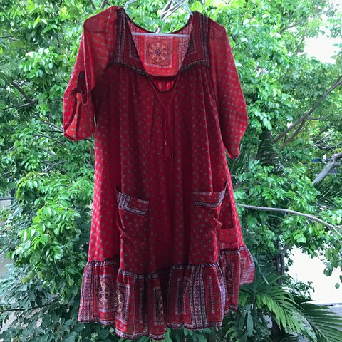 70e24f8881 Flowy red boho free people dress! Such a summer statement is - Depop