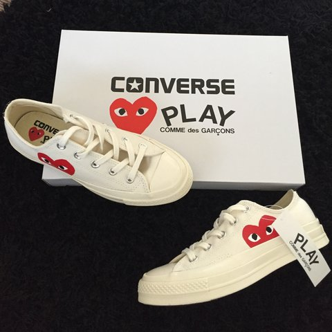 b02fedc64ca9 Comme des garçons PLAY converse - White low size UK 4❤ as - Depop