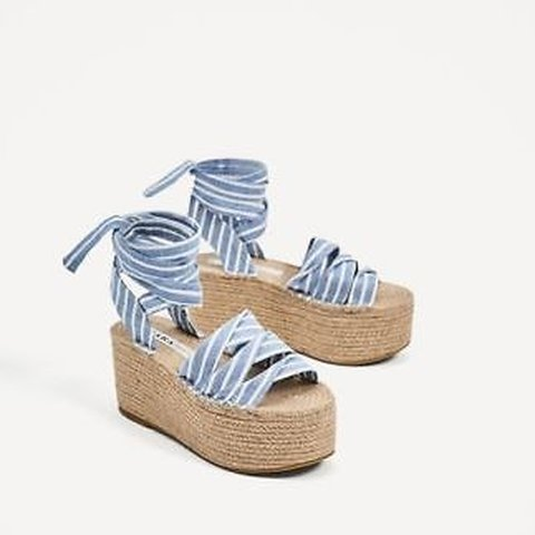 8367bd3f00c Zara Blue Tied Jute Platform Wedges - UK8 - Depop