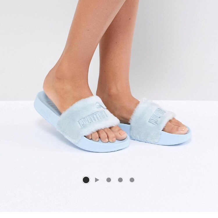 online retailer a0c39 874e1 Baby Blue Fenty Puma Fur Sliders. Bought from Asos... - Depop