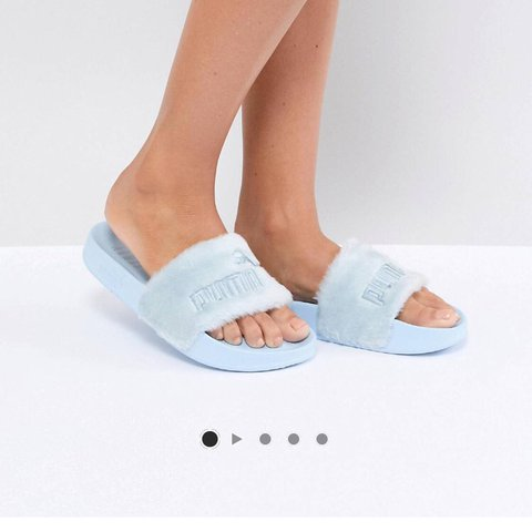 ee1a15032496 Baby Blue Fenty Puma Fur Sliders. Bought from Asos worn for - Depop