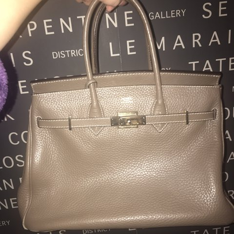 f39b72273d17 Warm grey Hermes Birkin style bag. Brought about 5 years ago - Depop