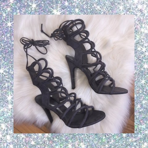 86d8fb0241f8 Gladiator Lace-up Strappy Faux Suede Heels Very good only - Depop