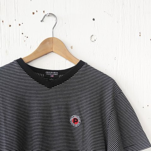 bb34ec159 @ellerou. 2 years ago. Michigan, USA. polo jeans ralph lauren striped black  and white tee size large. nice embroidered patch ...