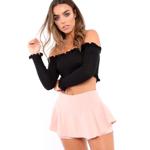 d999062d18d6c Black knitted long sleeve Bardot off the shoulder frill crop - Depop
