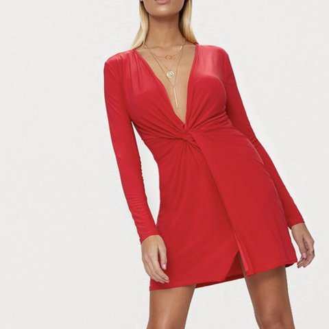 281bc8be279 Pretty little thing red slinky low cut dress • Size 12 maybe - Depop