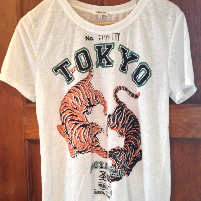 aadfae3e River Island white Tokyo tiger graphic tee/tshirt. Size 12. - Depop