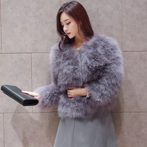 7848ff9190e @michaelalouiseq. 2 years ago. Leeds, UK. Ostrich Feather Jacket Available  in Black ...