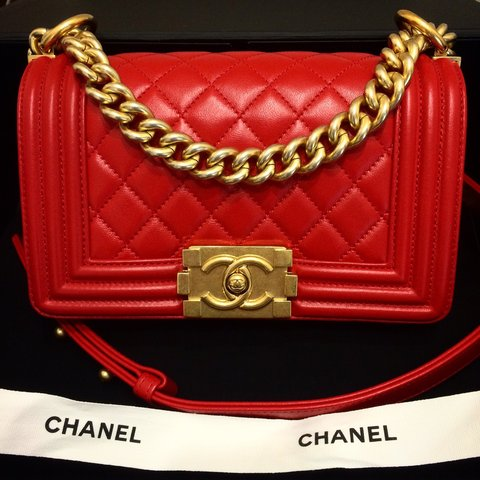 d9e93358194e8d Chanel Boy Red small size (20) in perfect condition almost - Depop