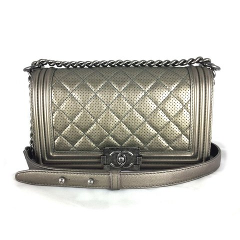 eeafd736cd441e Chanel Boy very rare Bronze Perforated Quilted Flap Boy Bag - Depop