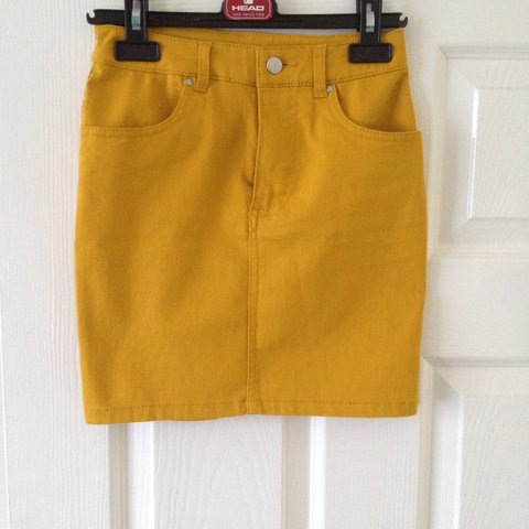 74986eb496 Gorgeous mustard yellow denim skirt, lovely tight fitting - - Depop