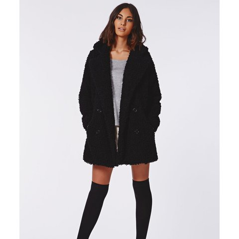 d6ab4e73d5a @krystallena. 2 years ago. Woodmere, United States. Missguided UK black  Celine teddy faux fur coat ...