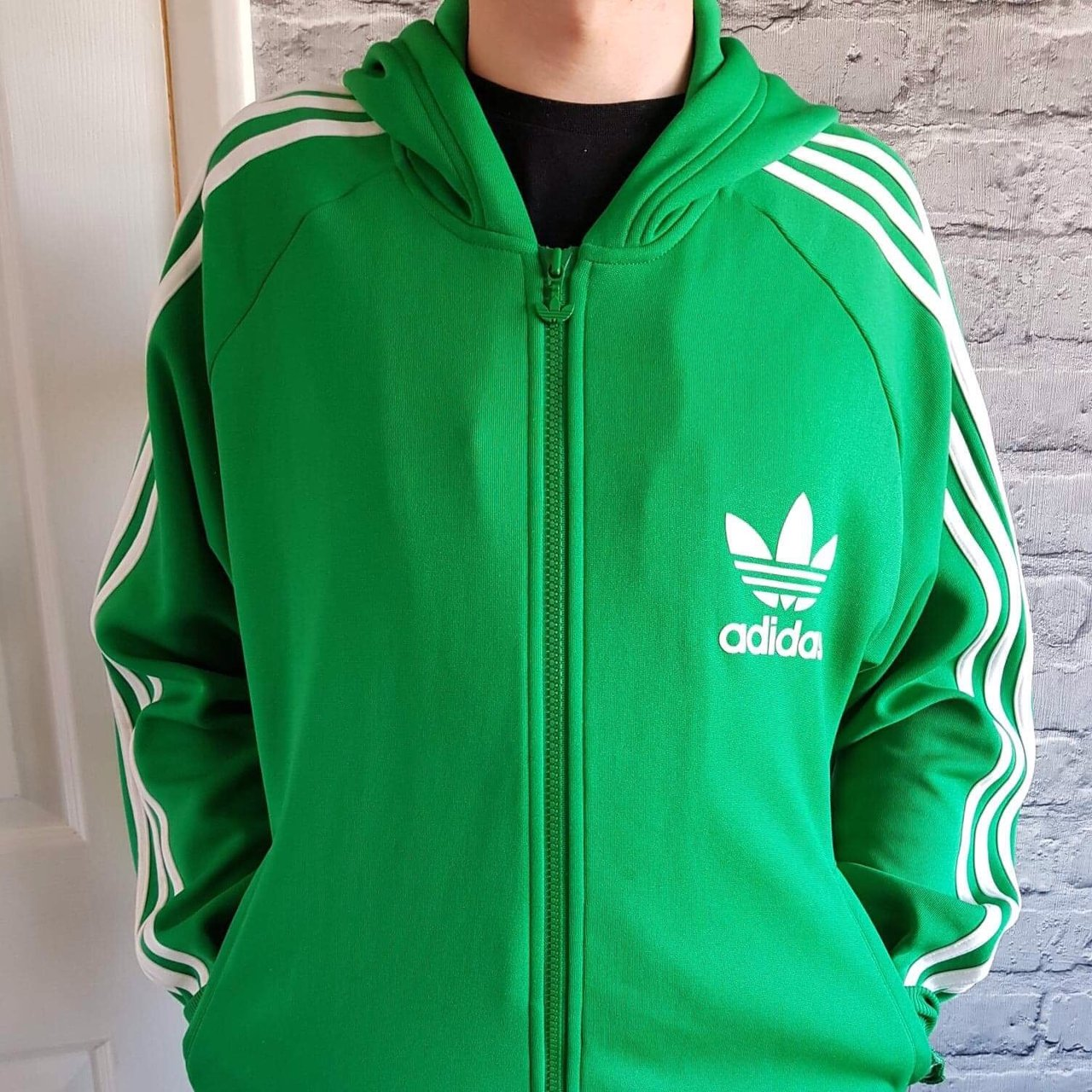 ADIDAS Green and White 3 Stripes Zip Hoodie Jacket Size Wear - Depop 91d2546b221b