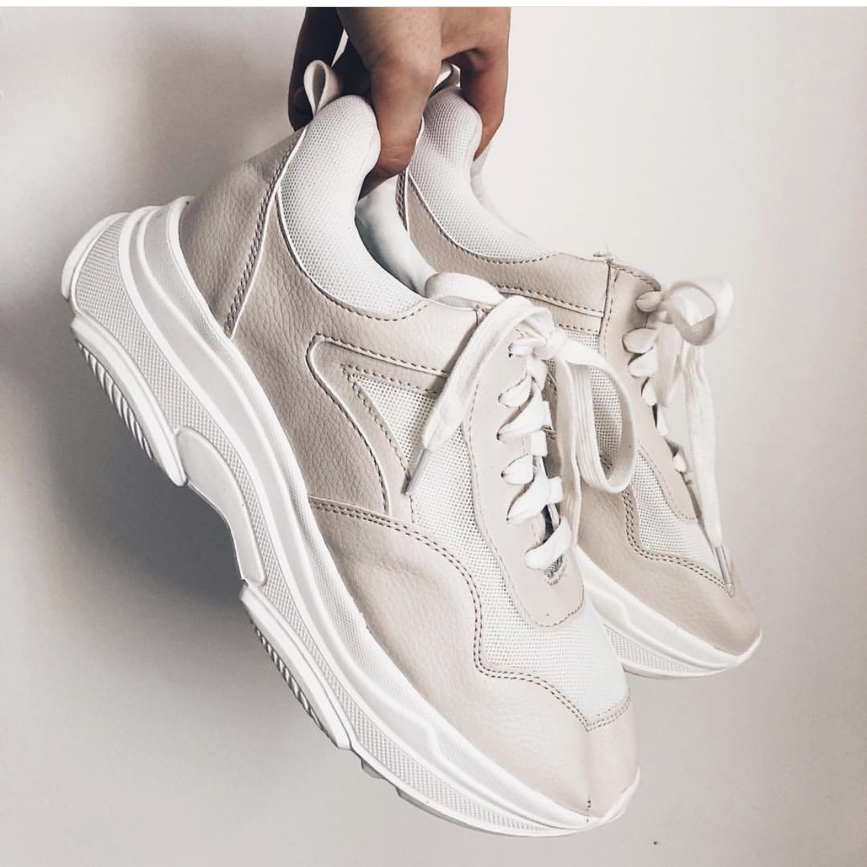 Primark chunky trainers in white/beige
