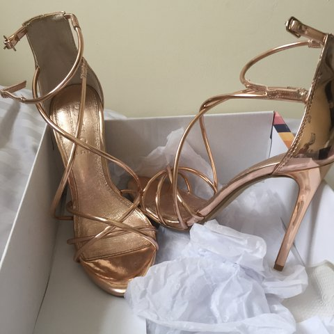 186da7732b81 Gorgeous rose gold strappy heels from office
