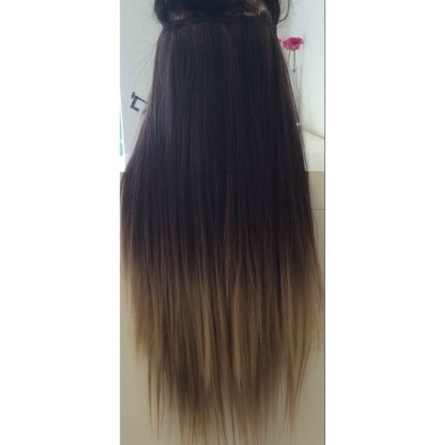 One Piece Clip In Hair Extensions 20 Dip Dyeombr Very I Depop