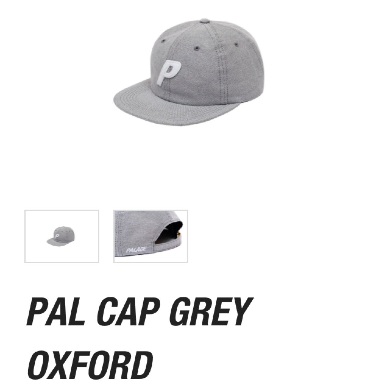 1179e44b48c Palace P 6 Panel Cap - Grey Oxford. Deadstock