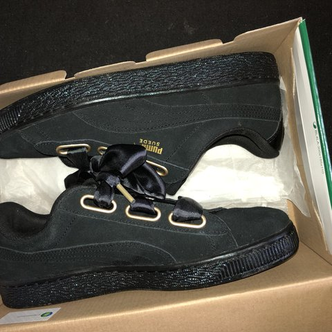36c1110b221 Quick sale!!!! Puma suede bow tie trainers in black & with a - Depop