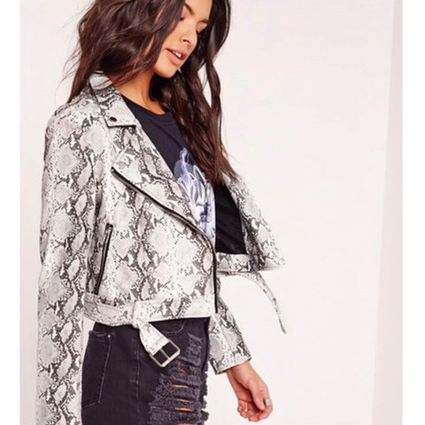 a0044d73237c @holliehunt. last year. Hessle, United Kingdom. Snake skin faux leather jacket  Missguided Size 12. Never worn