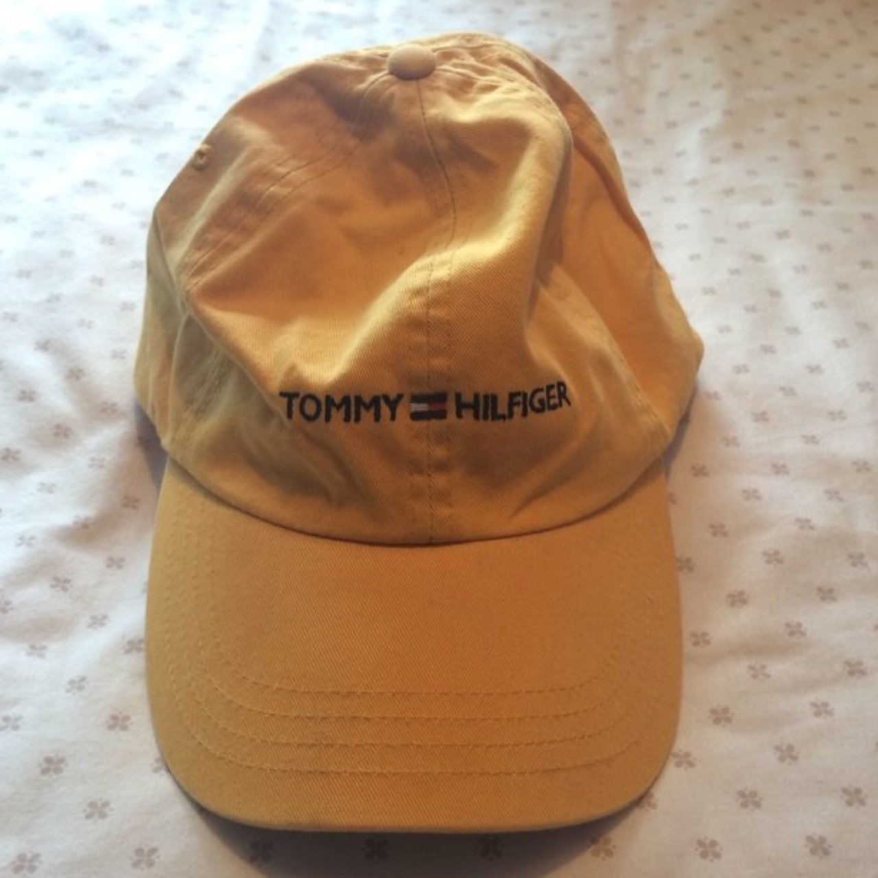 Yellow Tommy Hilfiger spell out hat   Tommy Hilfiger cap - a - Depop 41b62340547