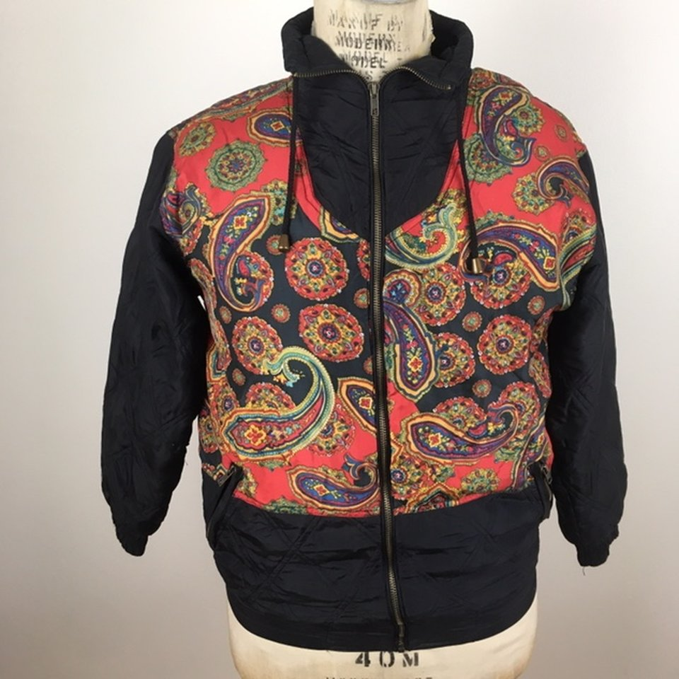 e4f9957d0 90's 100% silk paisley pattern zip up bomber... - Depop