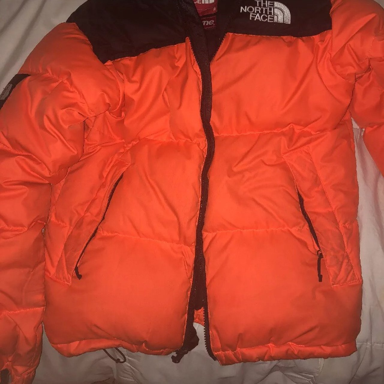Used orange supreme north face puffer. This jacket is 100% I - Depop 4d1acfe51