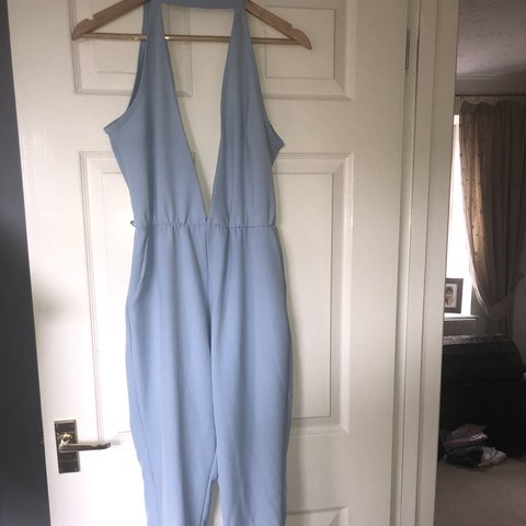 01dc4f769b31 NEVER WORN. PRETTY LITTLE THING JUMPSUIT PASTEL BLUE. to - Depop