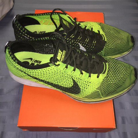 8.5 10 Nike Flyknit Racer Volt Sz 11. These are rare af and - Depop e812b3a71