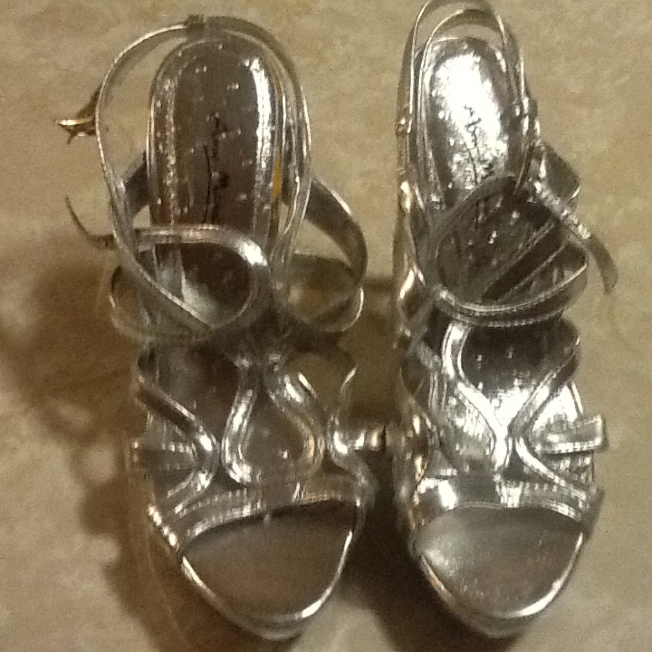 9b02a64f9a8 Beautiful silver dress shoes. Size 7. Would look good in a a - Depop