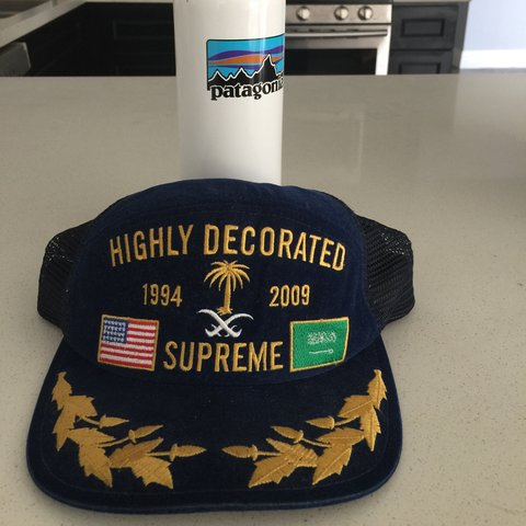 6a23fc9684b Highly Decorated Sup Trucker hat blue  supreme  bape  palace - Depop