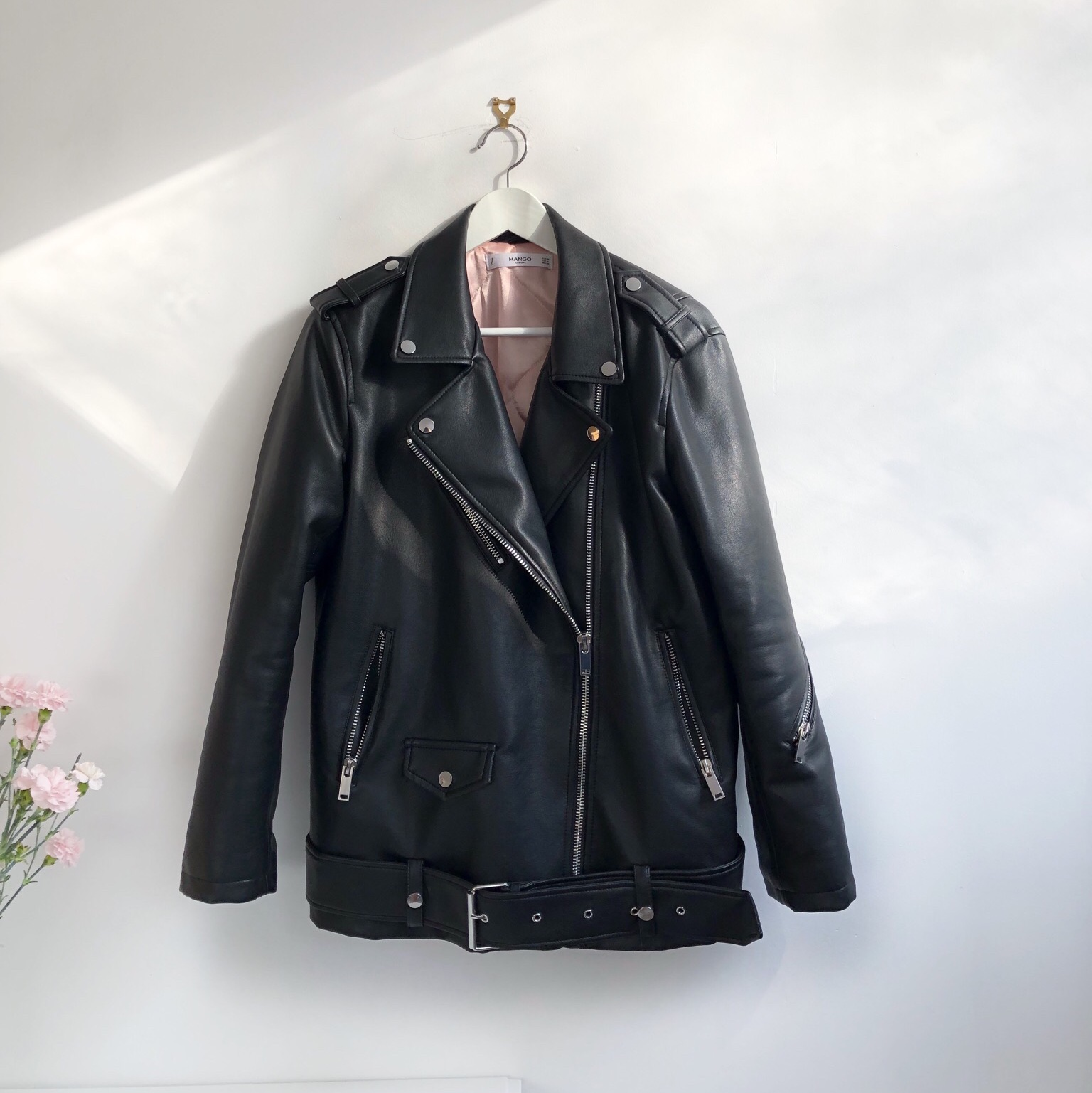browse latest collections big selection big selection of 2019 Mango oversized black leather biker jacket. Worn a... - Depop