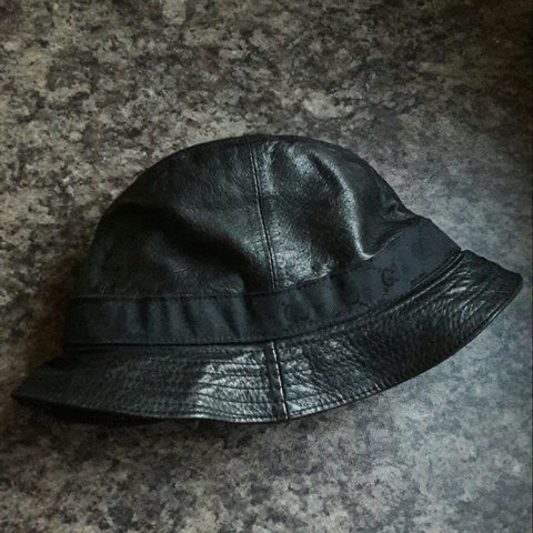 76167cd1ab5 Vintage Gucci Fedora Bucket Hat. Black leather with woven - Depop