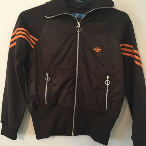 a0a5bd5a3fc4 Adidas bomber jacket. Hardly worn. Brown and orange. Elbow i - Depop