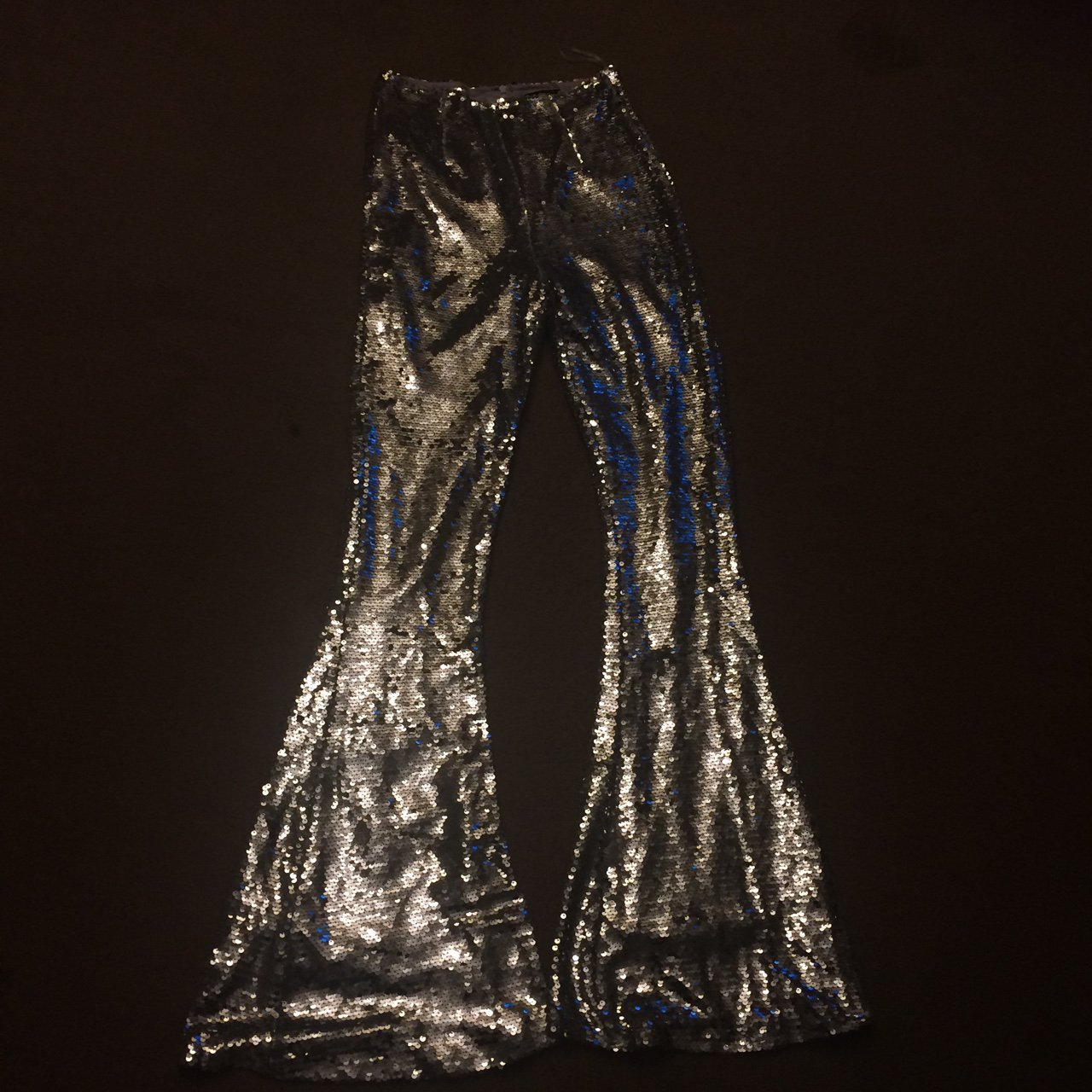 75a3662f39c Missguided Peace   Love sequin trousers. Size 8 brand new - Depop