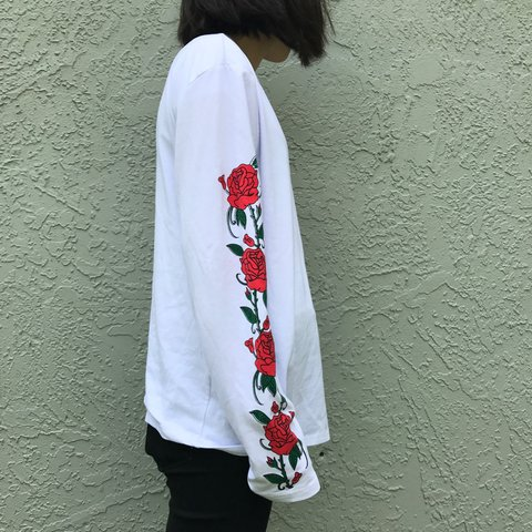 b40194efea white long sleeve shirt with rose details on sleeves 🌹 sure - Depop