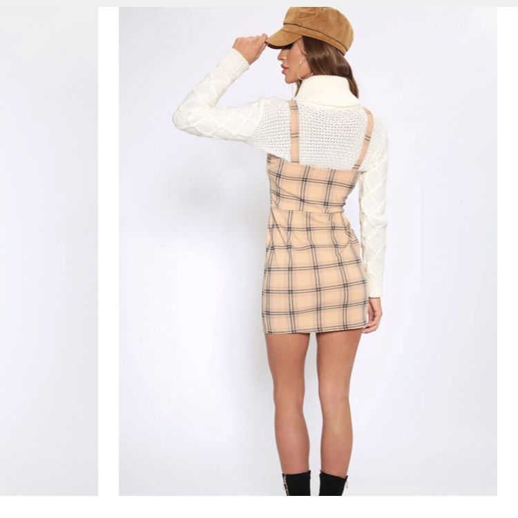 best site cute classic style Camel Check Pinafore Dress 8 / BEIGE I SAW IT... - Depop
