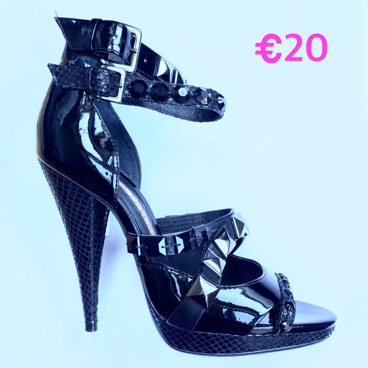 c7f150c1ee3 BUFFALO LONDON Shoes Rock Stud Ankle Strap Sandal in Patent - Depop