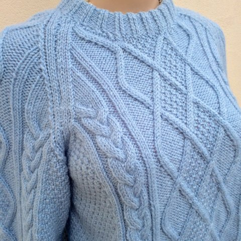 3489453ae Vintage hand knitted cable jumper. Light Blue Chunky Knit is - Depop