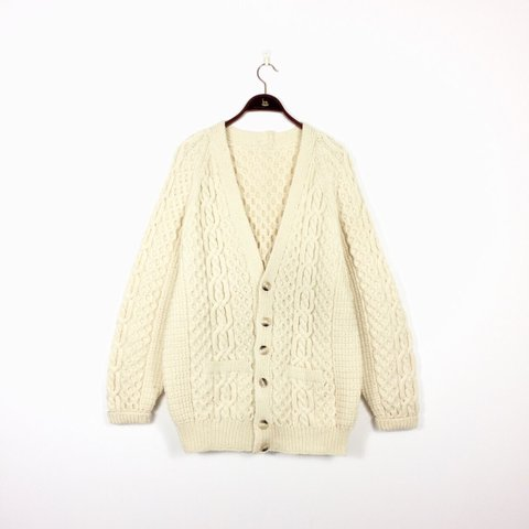 This is a sumptuous hand knitted Aran cream wool cardigan - Depop 7f91df952