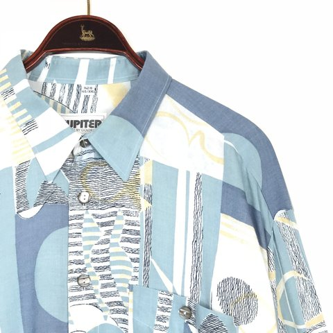e5517989 90s patchwork pastel and blue abstract print button up It a - Depop