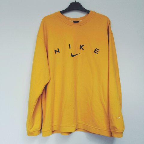 123fcf6176c1f NIKE authentic vintage sweater jumper top. Bright yellow Xl - Depop