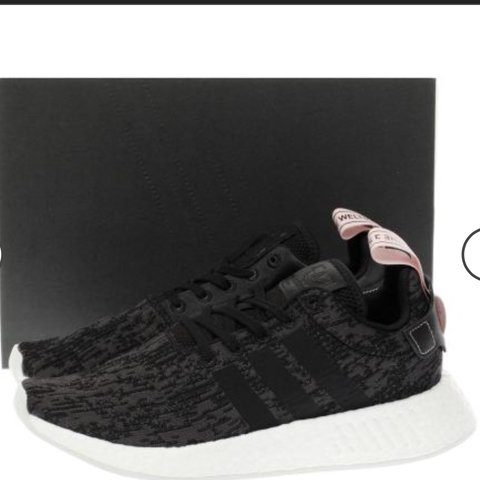 998a97ed9 Black white and pink Adidas Nmd R2 worn once perfect on but - Depop