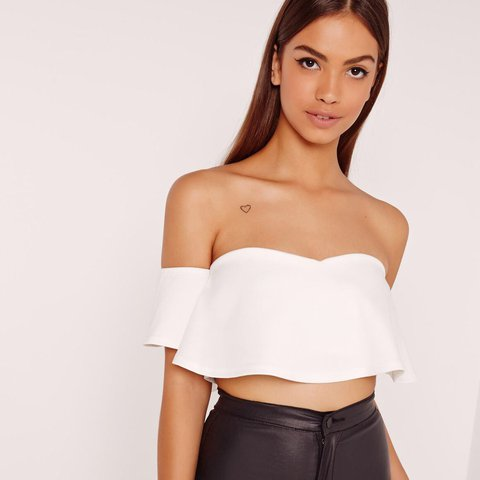 4281929f892 @juliap94. last year. Southsea, United Kingdom. Missguided Frill Bardot  Crop Top - White.